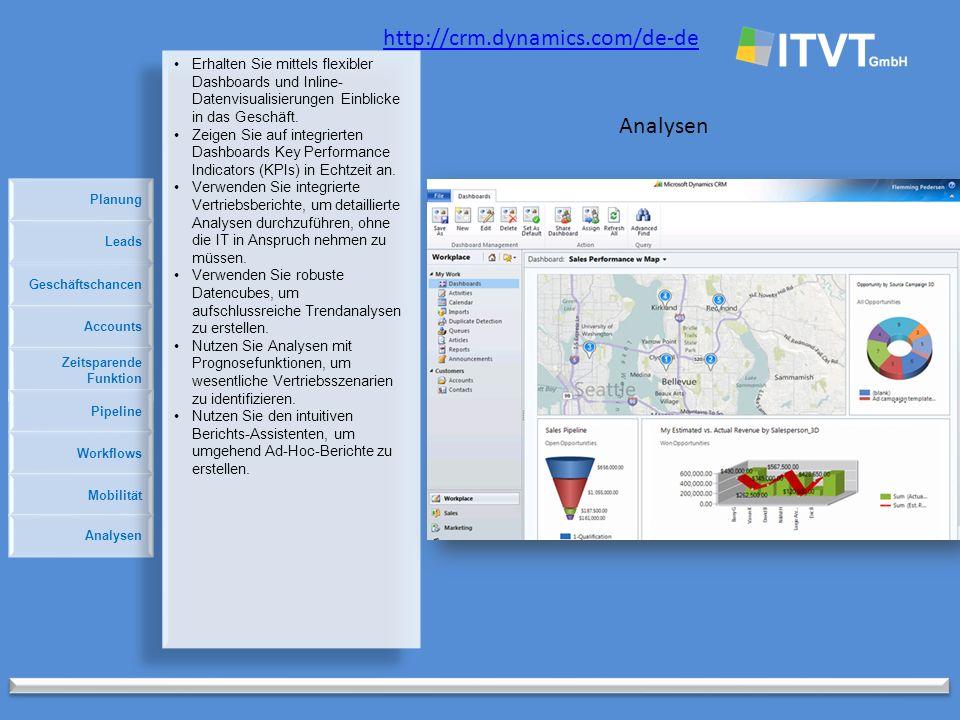 Planung http://crm.dynamics.com/de-de Analysen Geschäftschancen Accounts Zeitsparende Funktion Pipeline Leads Workflows Mobilität Analysen Erhalten Sie mittels flexibler Dashboards und Inline- Datenvisualisierungen Einblicke in das Geschäft.