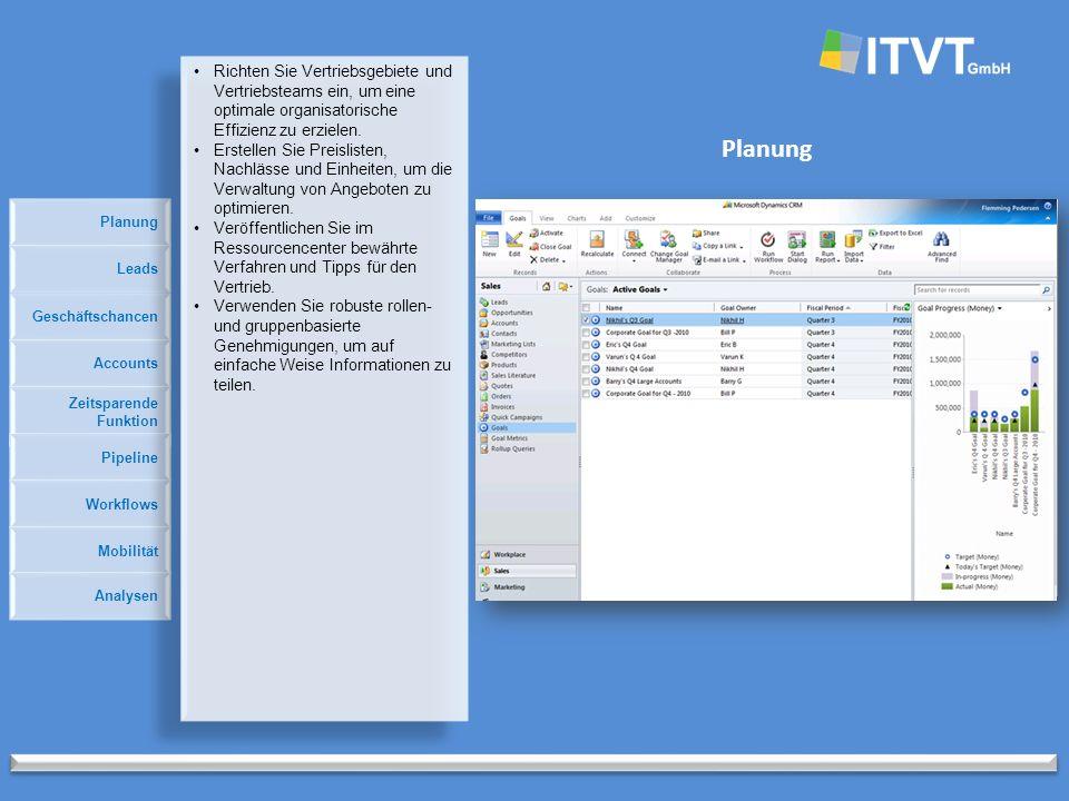 Planung Geschäftschancen Accounts Zeitsparende Funktion Pipeline Leads Workflows Mobilität Analysen Richten Sie Vertriebsgebiete und Vertriebsteams ein, um eine optimale organisatorische Effizienz zu erzielen.