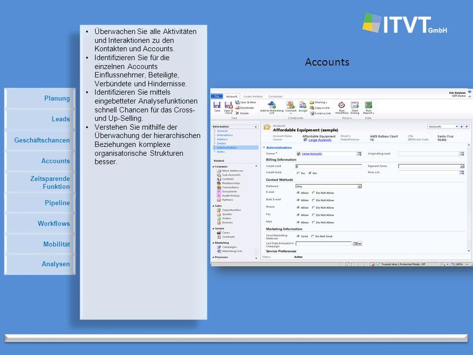 Planung Accounts Geschäftschancen Accounts Zeitsparende Funktion Pipeline Leads Workflows Mobilität Analysen Überwachen Sie alle Aktivitäten und Interaktionen zu den Kontakten und Accounts.