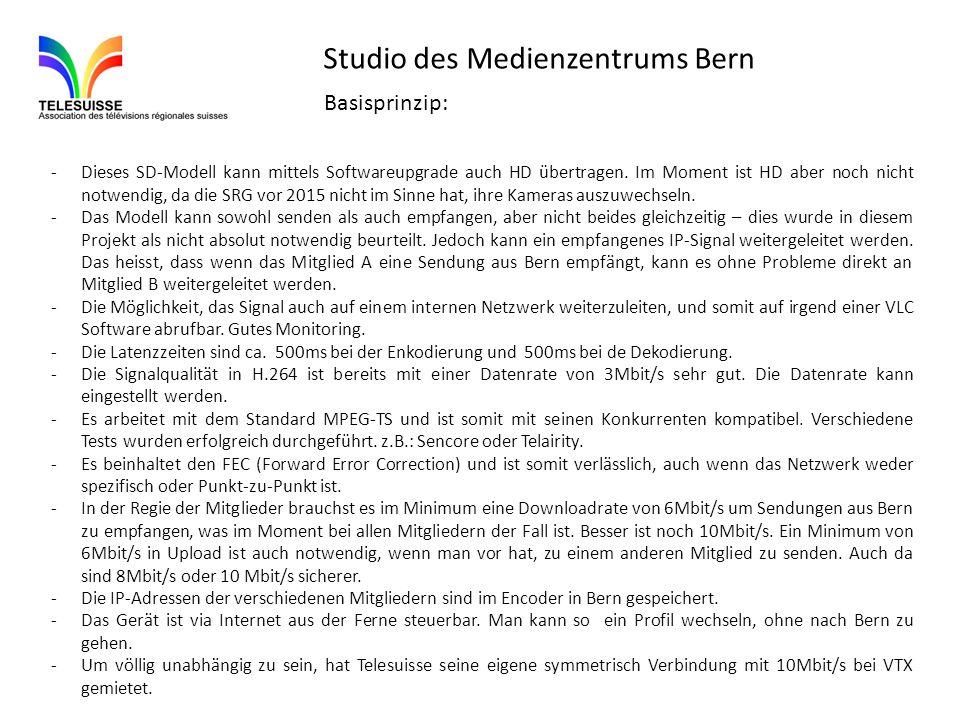 Studio des Medienzentrums Bern -Dieses SD-Modell kann mittels Softwareupgrade auch HD übertragen. Im Moment ist HD aber noch nicht notwendig, da die S