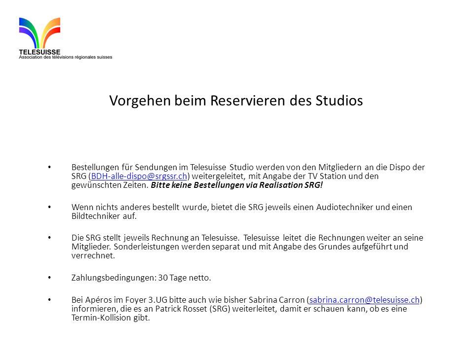 Vorgehen beim Reservieren des Studios Bestellungen für Sendungen im Telesuisse Studio werden von den Mitgliedern an die Dispo der SRG (BDH-alle-dispo@srgssr.ch) weitergeleitet, mit Angabe der TV Station und den gewünschten Zeiten.