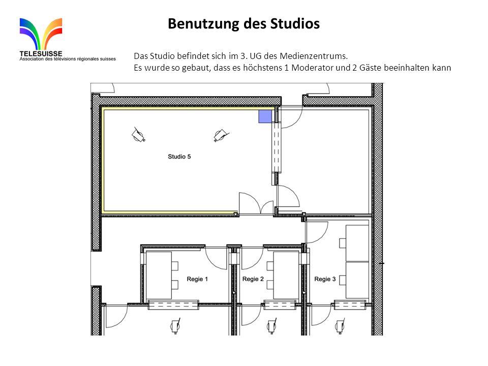 Benutzung des Studios Das Studio befindet sich im 3. UG des Medienzentrums. Es wurde so gebaut, dass es höchstens 1 Moderator und 2 Gäste beeinhalten