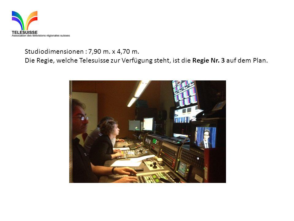 Studiodimensionen : 7,90 m. x 4,70 m. Die Regie, welche Telesuisse zur Verfügung steht, ist die Regie Nr. 3 auf dem Plan.