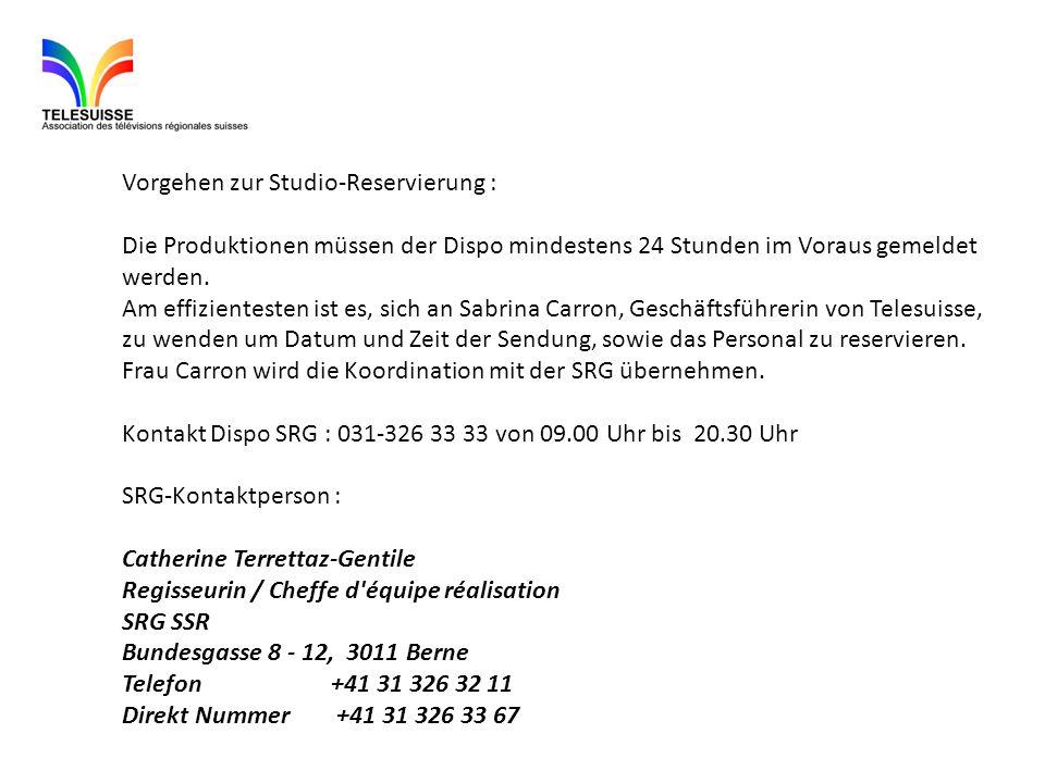 Vorgehen zur Studio-Reservierung : Die Produktionen müssen der Dispo mindestens 24 Stunden im Voraus gemeldet werden. Am effizientesten ist es, sich a