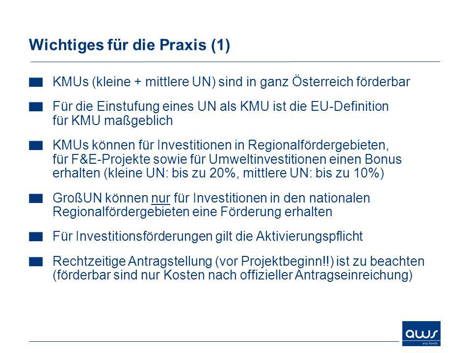 KMUs (kleine + mittlere UN) sind in ganz Österreich förderbar Für die Einstufung eines UN als KMU ist die EU-Definition für KMU maßgeblich KMUs können