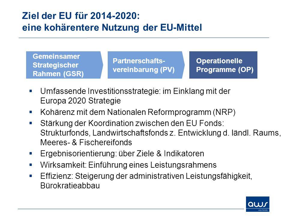 Ziel der EU für 2014-2020: eine kohärentere Nutzung der EU-Mittel Umfassende Investitionsstrategie: im Einklang mit der Europa 2020 Strategie Kohärenz