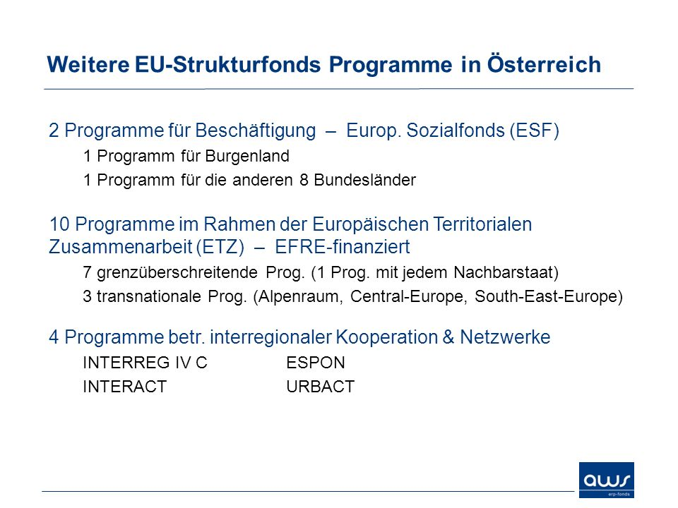 Weitere EU-Strukturfonds Programme in Österreich 2 Programme für Beschäftigung – Europ. Sozialfonds (ESF) 1 Programm für Burgenland 1 Programm für die