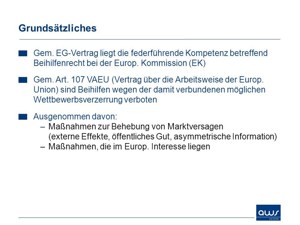 Grundsätzliches Gem. EG-Vertrag liegt die federführende Kompetenz betreffend Beihilfenrecht bei der Europ. Kommission (EK) Gem. Art. 107 VAEU (Vertrag