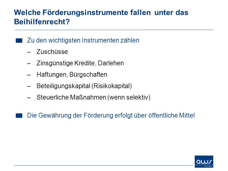 Zu den wichtigsten Instrumenten zählen –Zuschüsse –Zinsgünstige Kredite, Darlehen –Haftungen, Bürgschaften –Beteiligungskapital (Risikokapital) –Steue