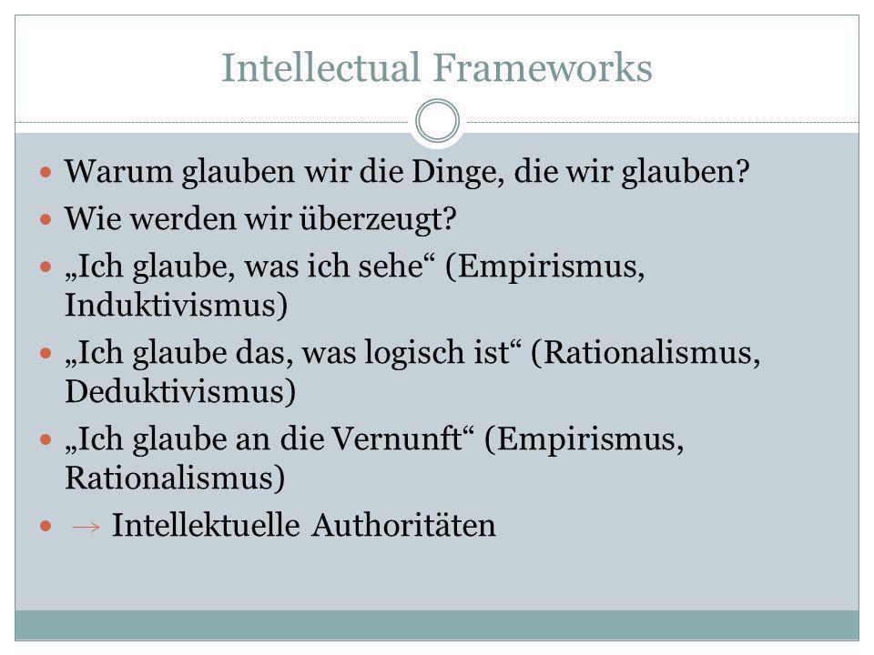 Intellectual Frameworks Warum glauben wir die Dinge, die wir glauben? Wie werden wir überzeugt? Ich glaube, was ich sehe (Empirismus, Induktivismus) I