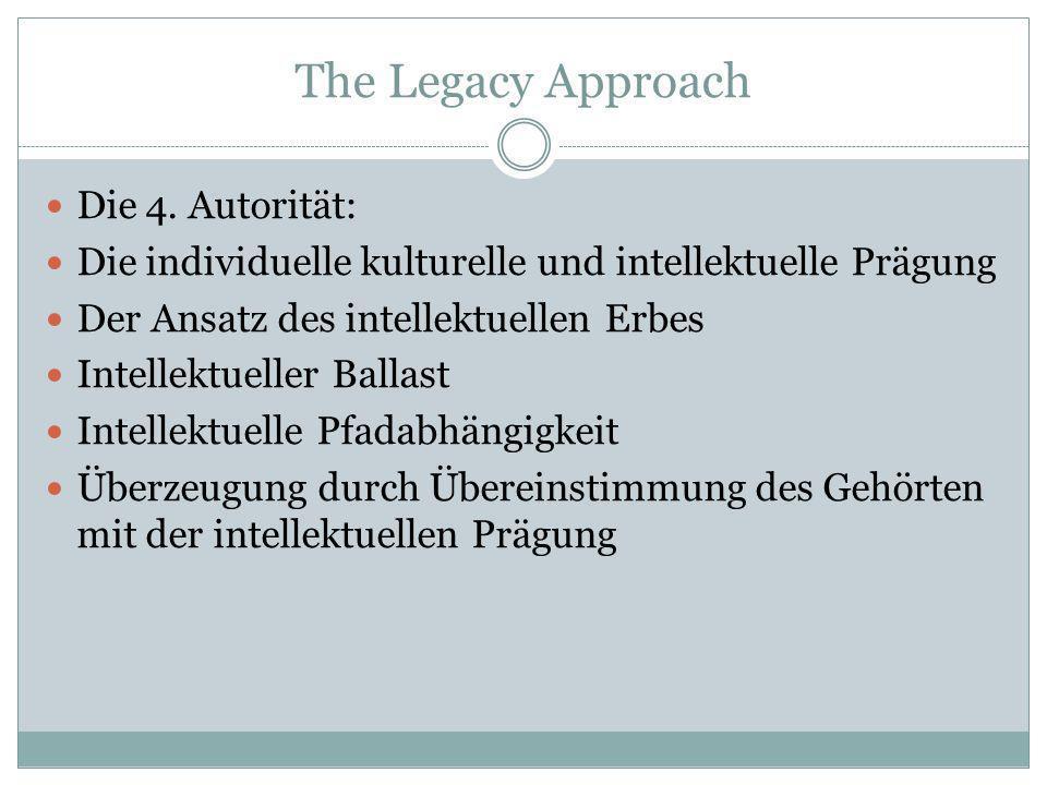 The Legacy Approach Die 4. Autorität: Die individuelle kulturelle und intellektuelle Prägung Der Ansatz des intellektuellen Erbes Intellektueller Ball