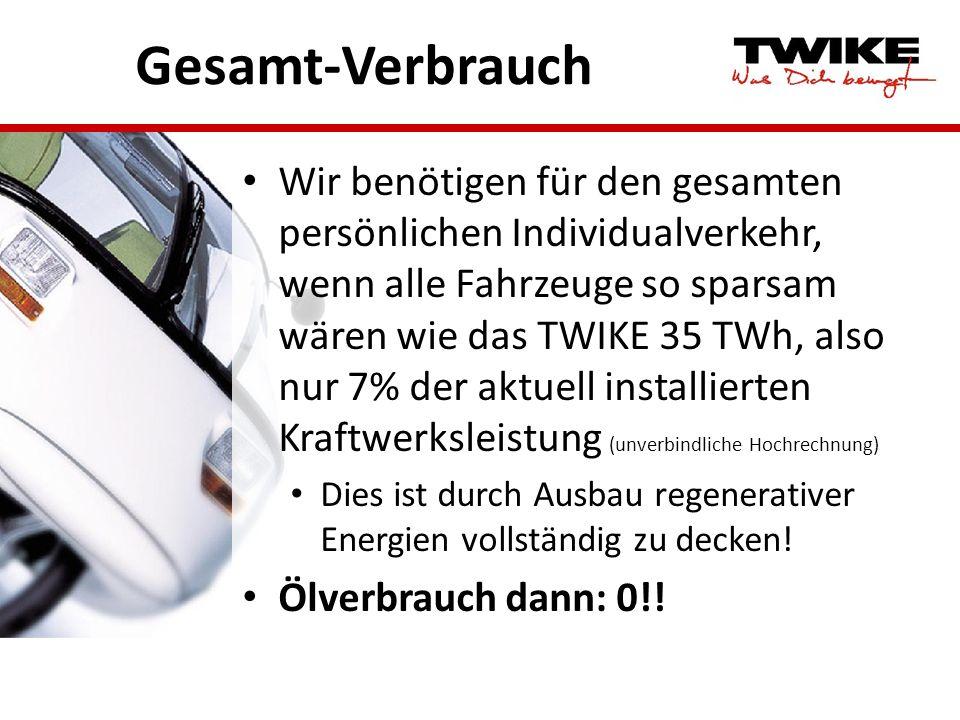 Gesamt-Verbrauch Wir benötigen für den gesamten persönlichen Individualverkehr, wenn alle Fahrzeuge so sparsam wären wie das TWIKE 35 TWh, also nur 7%