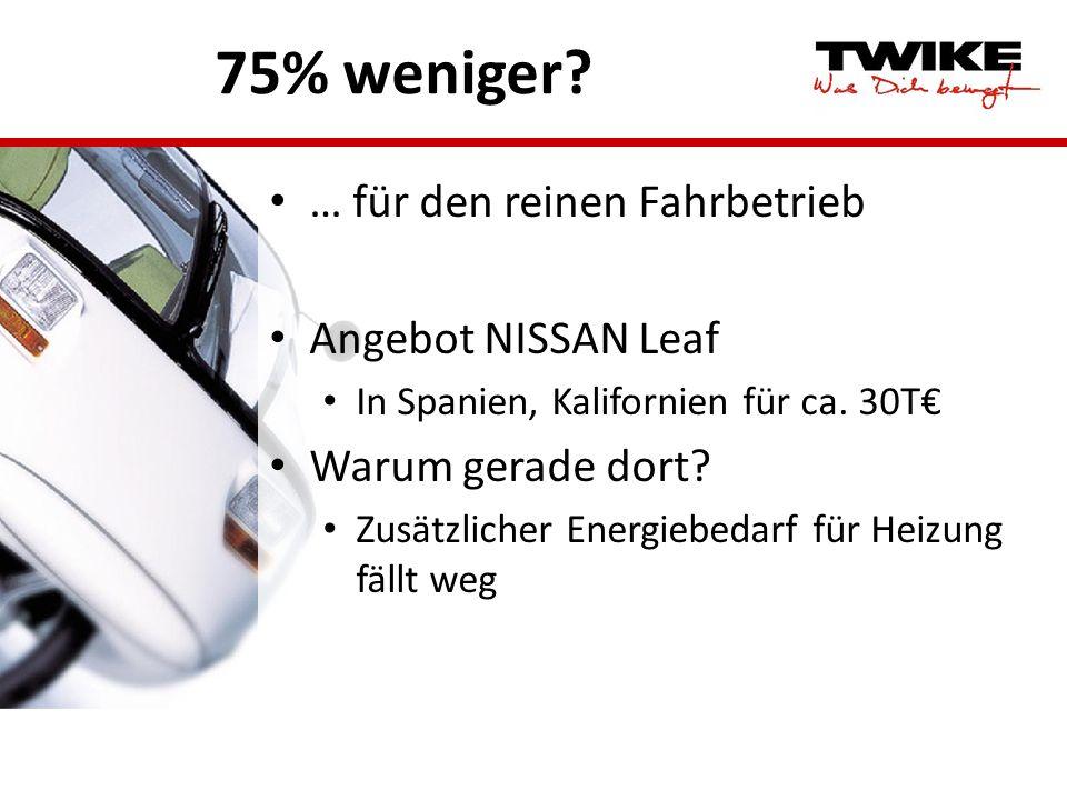 75% weniger? … für den reinen Fahrbetrieb Angebot NISSAN Leaf In Spanien, Kalifornien für ca. 30T Warum gerade dort? Zusätzlicher Energiebedarf für He