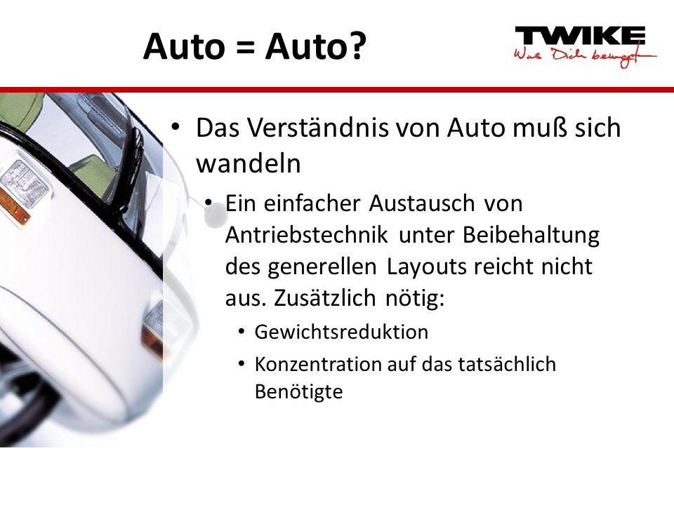 Auto = Auto? Das Verständnis von Auto muß sich wandeln Ein einfacher Austausch von Antriebstechnik unter Beibehaltung des generellen Layouts reicht ni