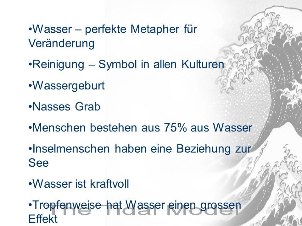 Wasser – perfekte Metapher für Veränderung Reinigung – Symbol in allen Kulturen Wassergeburt Nasses Grab Menschen bestehen aus 75% aus Wasser Inselmen