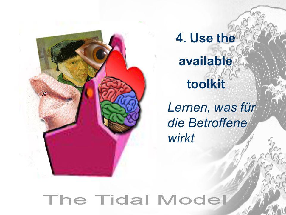 Lernen, was für die Betroffene wirkt 4. Use the available toolkit