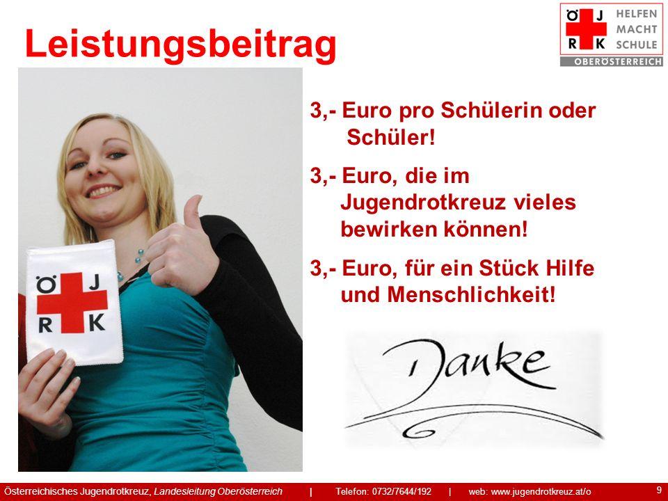 9 3,- Euro pro Schülerin oder Schüler! 3,- Euro, die im Jugendrotkreuz vieles bewirken können! 3,- Euro, für ein Stück Hilfe und Menschlichkeit! Öster