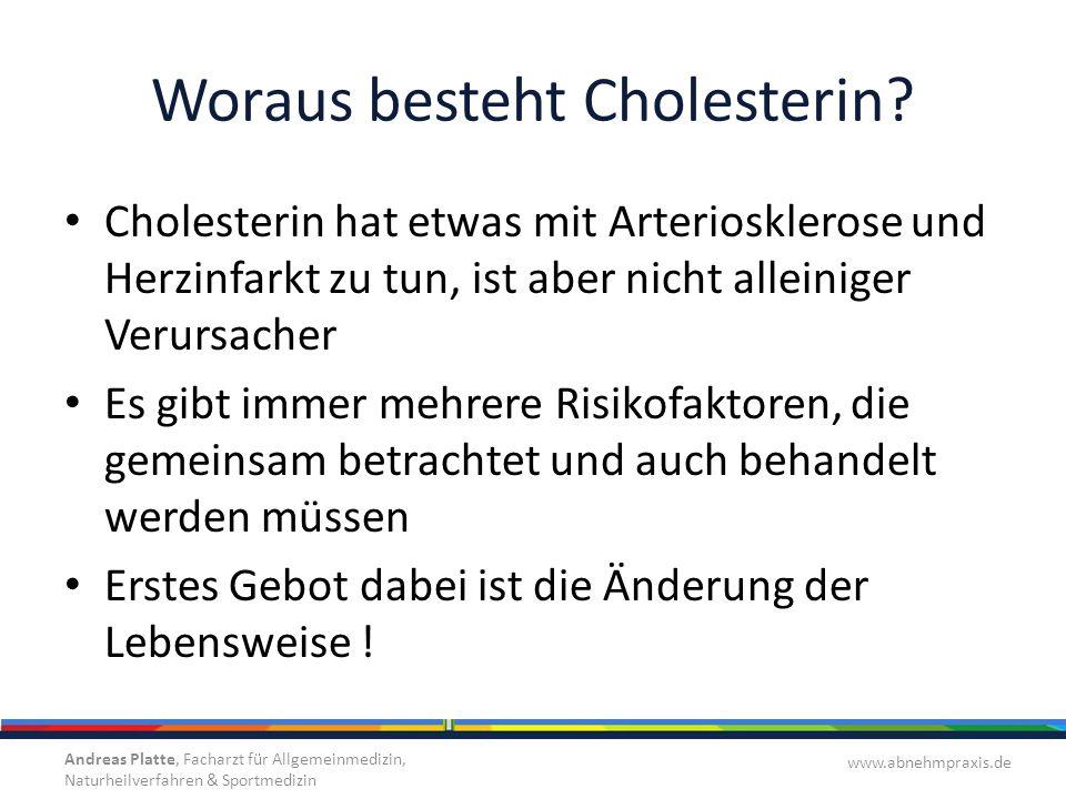 Woraus besteht Cholesterin? Cholesterin hat etwas mit Arteriosklerose und Herzinfarkt zu tun, ist aber nicht alleiniger Verursacher Es gibt immer mehr