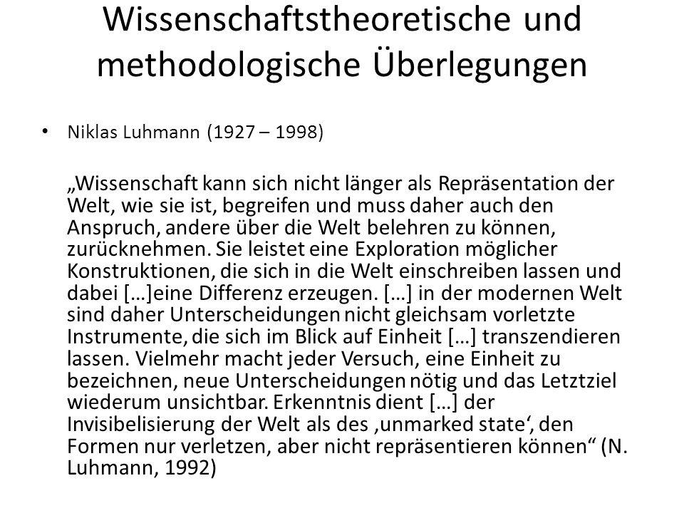 Wissenschaftstheoretische und methodologische Überlegungen Niklas Luhmann (1927 – 1998) Wissenschaft kann sich nicht länger als Repräsentation der Wel