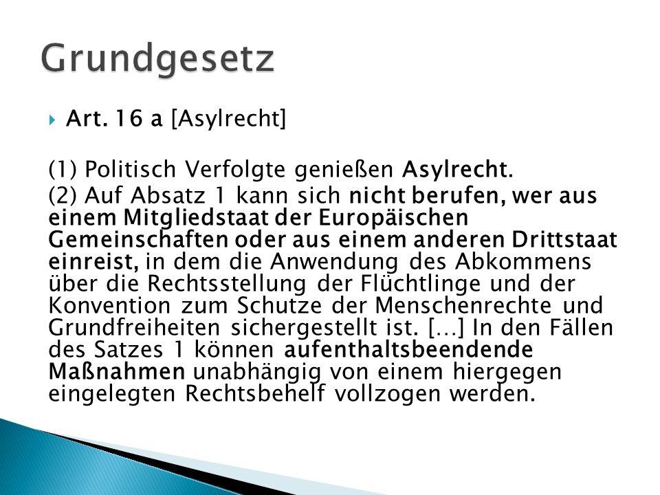 Art. 16 a [Asylrecht] (1) Politisch Verfolgte genießen Asylrecht. (2) Auf Absatz 1 kann sich nicht berufen, wer aus einem Mitgliedstaat der Europäisch