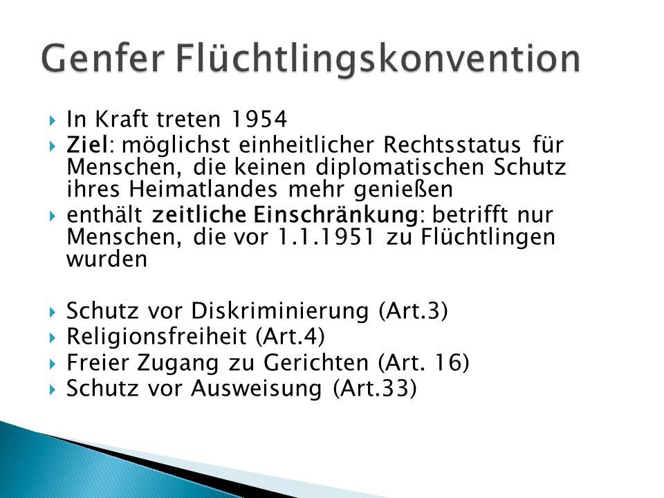 In Kraft treten 1954 Ziel: möglichst einheitlicher Rechtsstatus für Menschen, die keinen diplomatischen Schutz ihres Heimatlandes mehr genießen enthäl