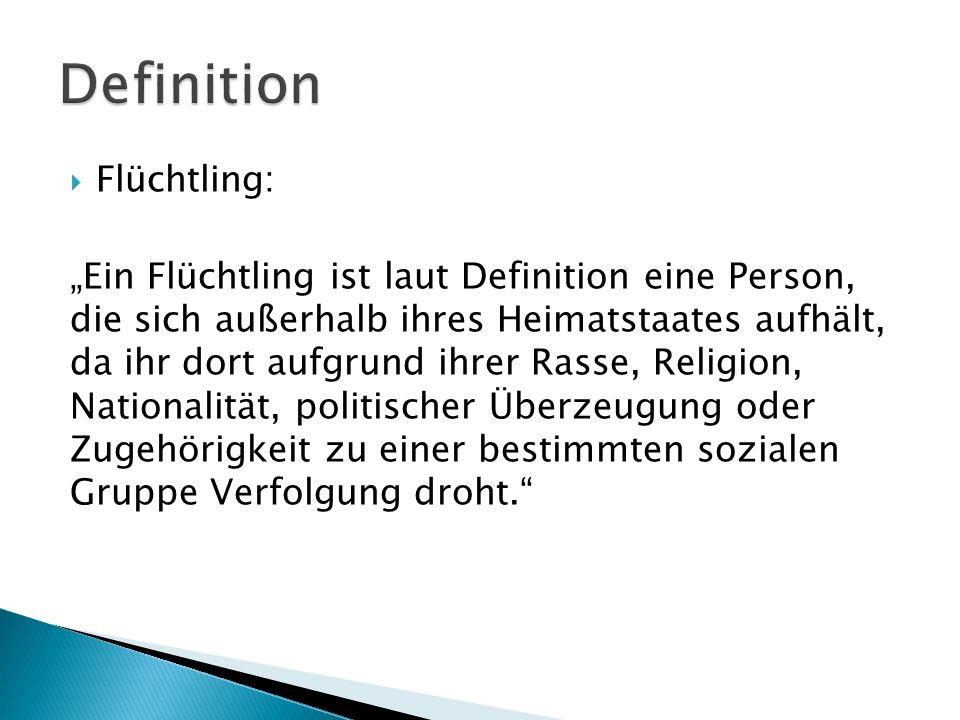 Flüchtling: Ein Flüchtling ist laut Definition eine Person, die sich außerhalb ihres Heimatstaates aufhält, da ihr dort aufgrund ihrer Rasse, Religion
