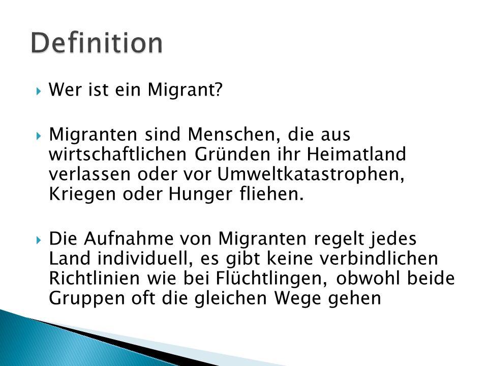 Wer ist ein Migrant? Migranten sind Menschen, die aus wirtschaftlichen Gründen ihr Heimatland verlassen oder vor Umweltkatastrophen, Kriegen oder Hung