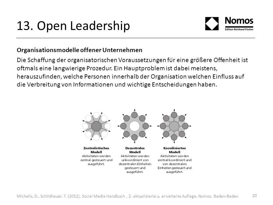 13. Open Leadership Organisationsmodelle offener Unternehmen Die Schaffung der organisatorischen Voraussetzungen für eine größere Offenheit ist oftm