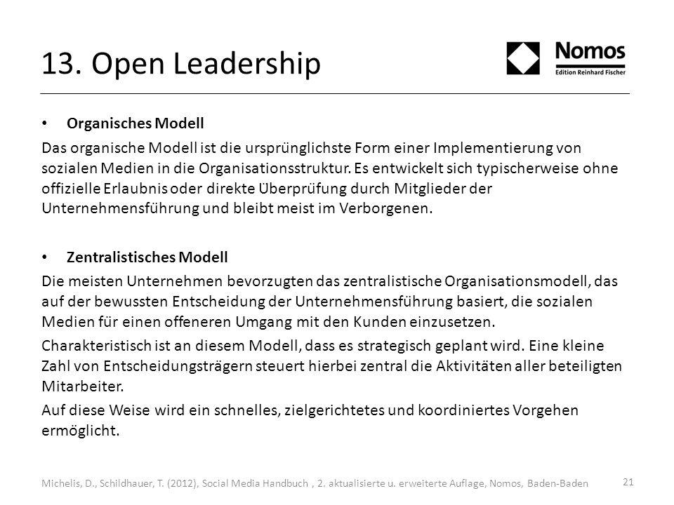 13. Open Leadership Organisches Modell Das organische Modell ist die ursprünglichste Form einer Implementierung von sozialen Medien in die Organisati