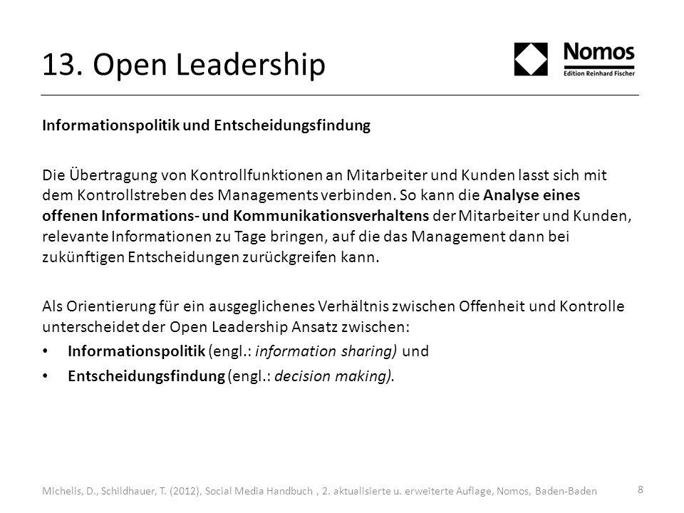 13. Open Leadership Informationspolitik und Entscheidungsfindung Die Übertragung von Kontrollfunktionen an Mitarbeiter und Kunden lasst sich mit dem K