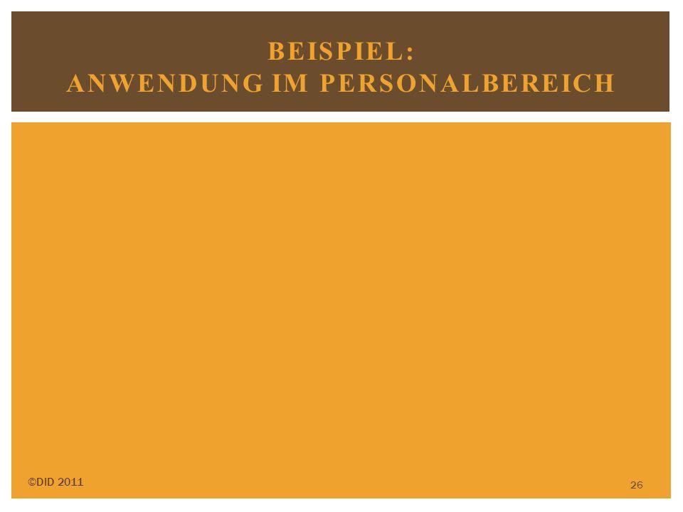 26 BEISPIEL: ANWENDUNG IM PERSONALBEREICH ©DID 2011