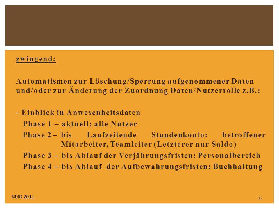 zwingend: Automatismen zur Löschung/Sperrung aufgenommener Daten und/oder zur Änderung der Zuordnung Daten/Nutzerrolle z.B.: - Einblick in Anwesenheit