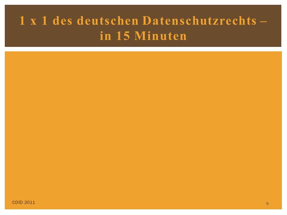 9 1 x 1 des deutschen Datenschutzrechts – in 15 Minuten ©DID 2011