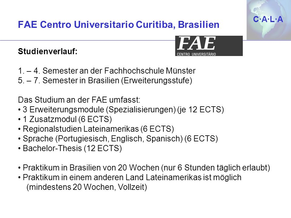 C·A·L·AC·A·L·A Besondere Hinweise Bachelor-Thesis von 6 ECTS evtl.