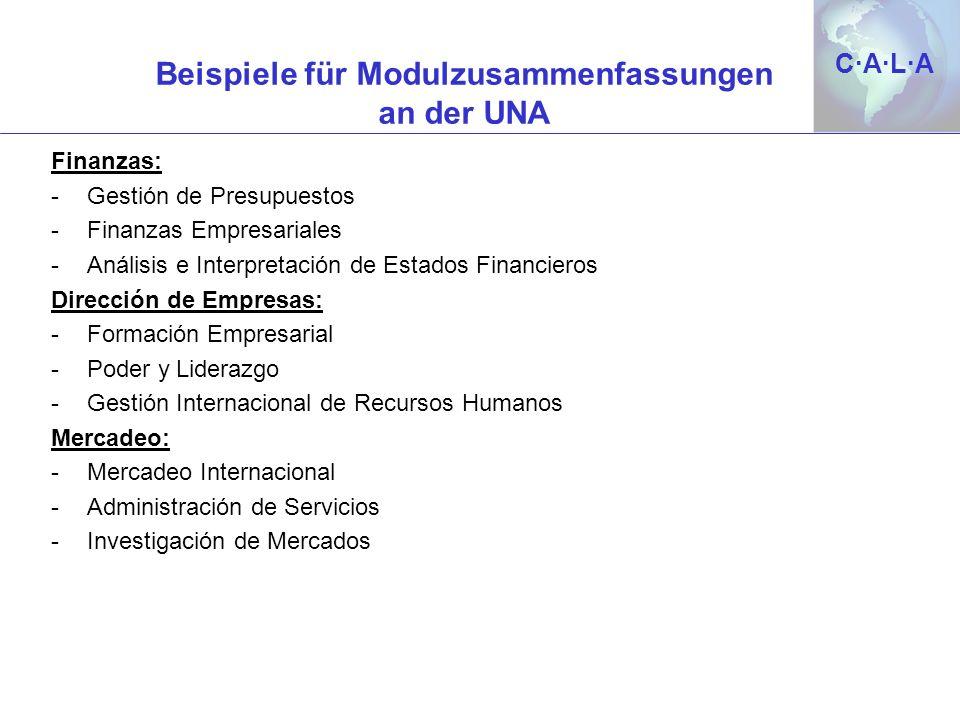 C·A·L·AC·A·L·A Beispiele für Modulzusammenfassungen an der UNA Finanzas: -Gestión de Presupuestos -Finanzas Empresariales -Análisis e Interpretación d