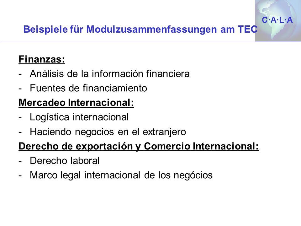 C·A·L·AC·A·L·A Beispiele für Modulzusammenfassungen am TEC Finanzas: -Análisis de la información financiera -Fuentes de financiamiento Mercadeo Intern