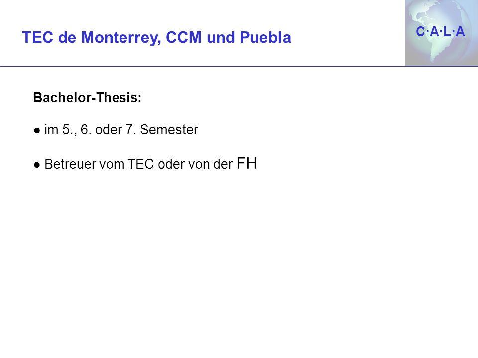 C·A·L·AC·A·L·A Bachelor-Thesis: im 5., 6. oder 7. Semester Betreuer vom TEC oder von der FH TEC de Monterrey, CCM und Puebla
