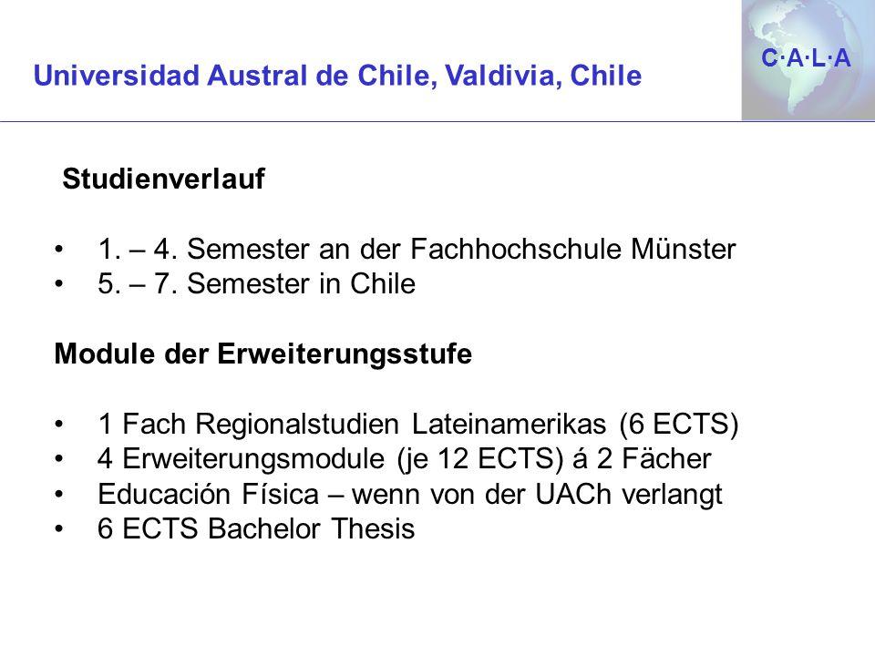 C·A·L·AC·A·L·A Studienverlauf 1. – 4. Semester an der Fachhochschule Münster 5. – 7. Semester in Chile Module der Erweiterungsstufe 1 Fach Regionalstu