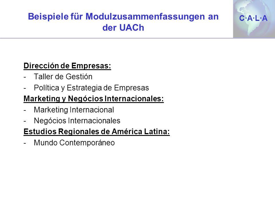 C·A·L·AC·A·L·A Beispiele für Modulzusammenfassungen an der UACh Dirección de Empresas: -Taller de Gestión -Política y Estrategia de Empresas Marketing