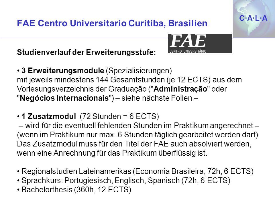 C·A·L·AC·A·L·A Studienverlauf der Erweiterungsstufe: 3 Erweiterungsmodule (Spezialisierungen) mit jeweils mindestens 144 Gesamtstunden (je 12 ECTS) au