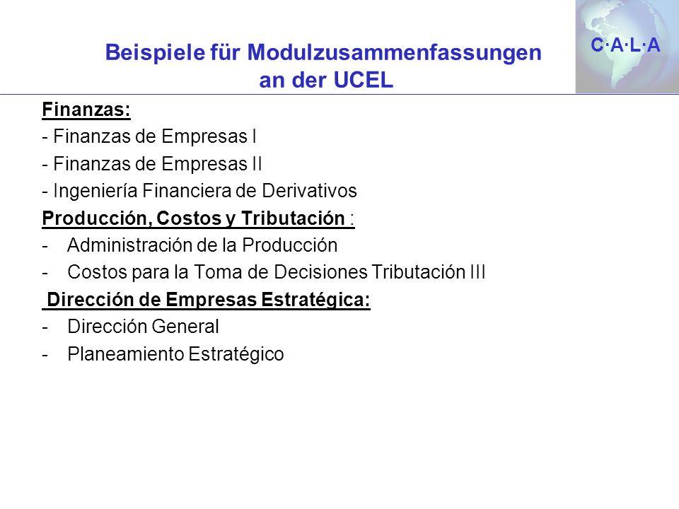 C·A·L·AC·A·L·A Beispiele für Modulzusammenfassungen an der UCEL Finanzas: - Finanzas de Empresas I - Finanzas de Empresas II - Ingeniería Financiera d