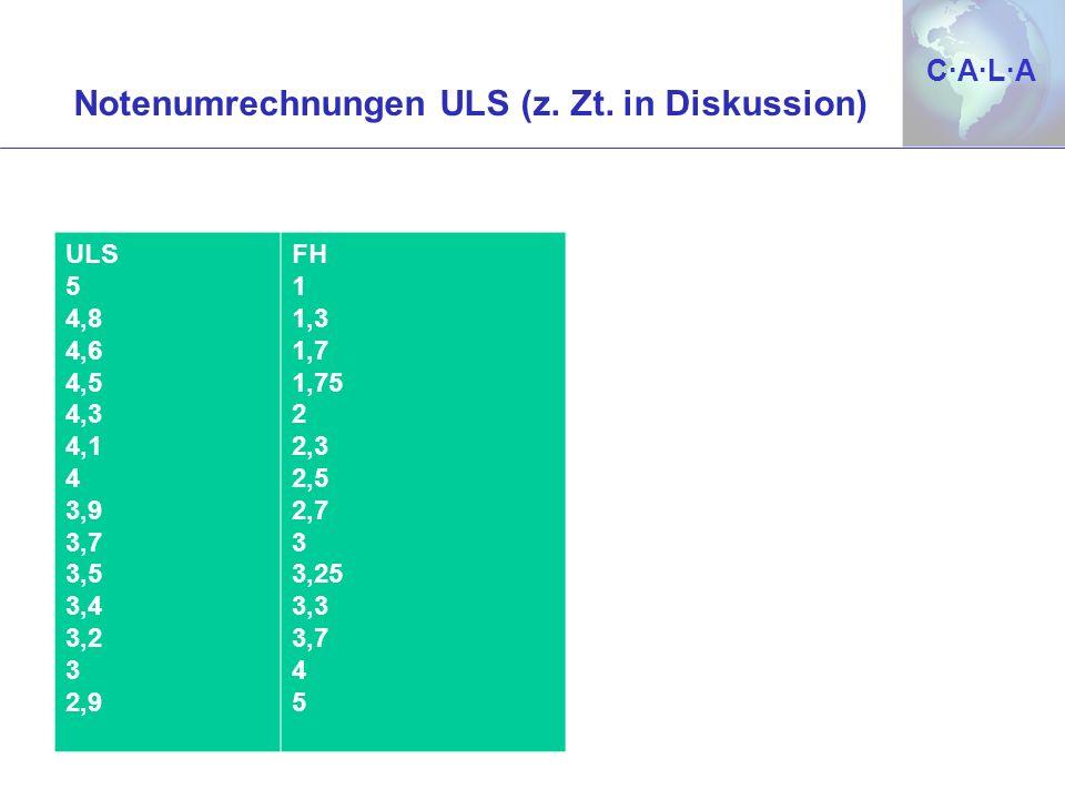 C·A·L·AC·A·L·A Notenumrechnungen ULS (z. Zt. in Diskussion) ULS 5 4,8 4,6 4,5 4,3 4,1 4 3,9 3,7 3,5 3,4 3,2 3 2,9 FH 1 1,3 1,7 1,75 2 2,3 2,5 2,7 3 3,
