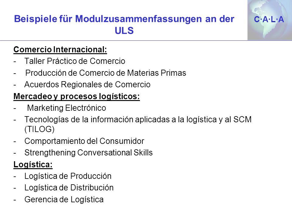 C·A·L·AC·A·L·A Beispiele für Modulzusammenfassungen an der ULS Comercio Internacional: -Taller Práctico de Comercio - Producción de Comercio de Materi