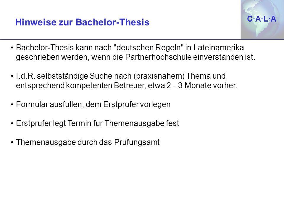 C·A·L·AC·A·L·A Bachelor-Thesis kann nach