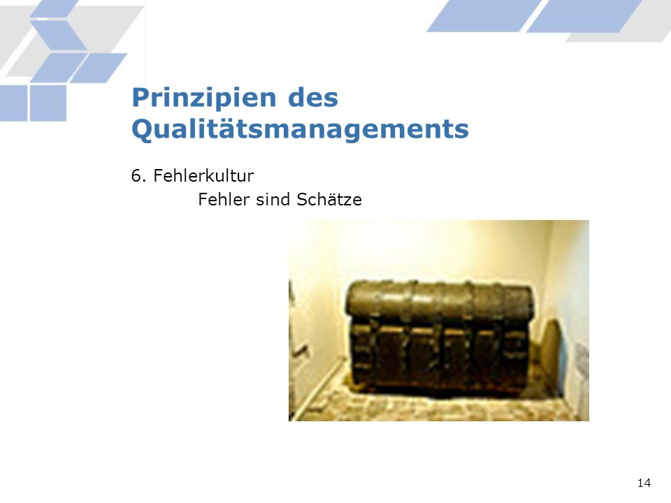 Prinzipien des Qualitätsmanagements 6. Fehlerkultur Fehler sind Schätze 14