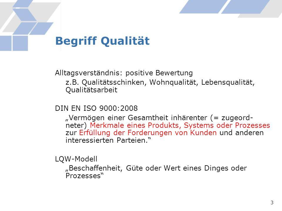 Begriff Qualität Alltagsverständnis: positive Bewertung z.B. Qualitätsschinken, Wohnqualität, Lebensqualität, Qualitätsarbeit DIN EN ISO 9000:2008 Ver