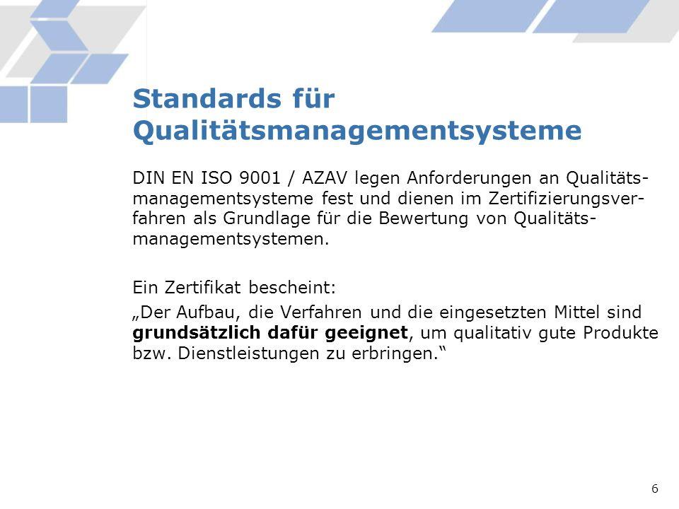 Standards für Qualitätsmanagementsysteme DIN EN ISO 9001 / AZAV legen Anforderungen an Qualitäts- managementsysteme fest und dienen im Zertifizierungs