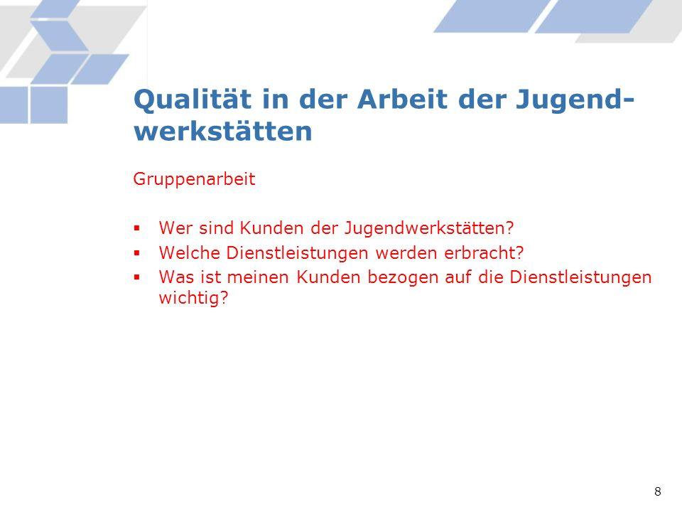 Qualität in der Arbeit der Jugend- werkstätten Gruppenarbeit Wer sind Kunden der Jugendwerkstätten? Welche Dienstleistungen werden erbracht? Was ist m