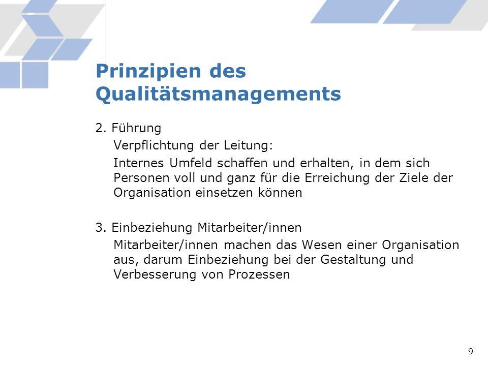 Prinzipien des Qualitätsmanagements 2. Führung Verpflichtung der Leitung: Internes Umfeld schaffen und erhalten, in dem sich Personen voll und ganz fü