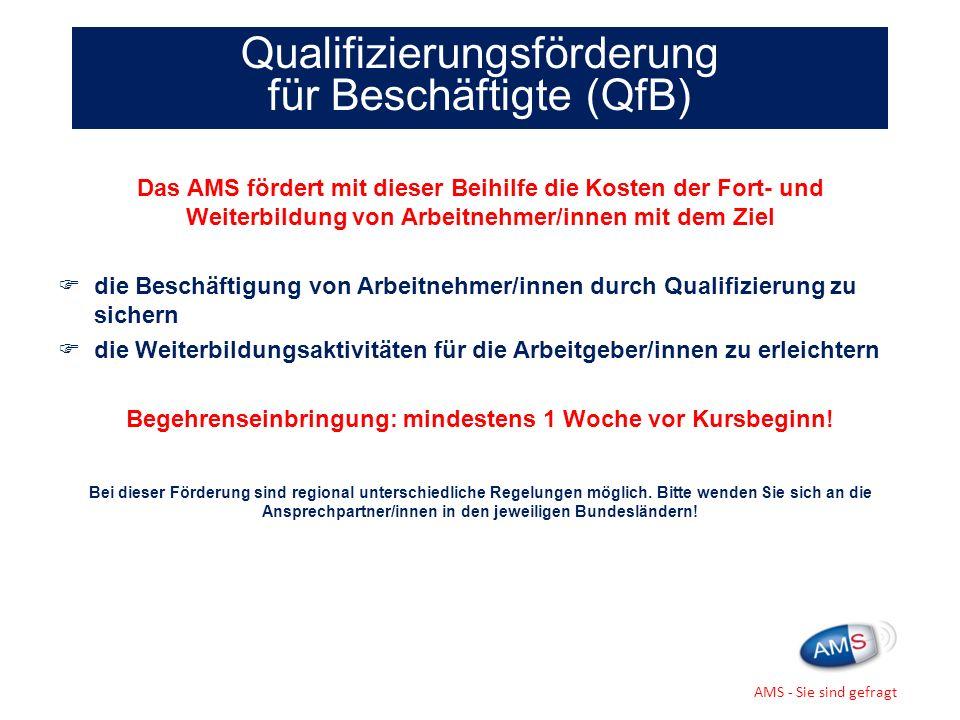 Das AMS fördert mit dieser Beihilfe die Kosten der Fort- und Weiterbildung von Arbeitnehmer/innen mit dem Ziel die Beschäftigung von Arbeitnehmer/inne